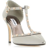 Dune Cliopatra studded t-bar court shoes, Pewter