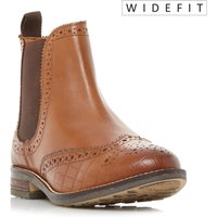 Dune W Quentons Wide Fit Brogue Chelsea Boots, Tan