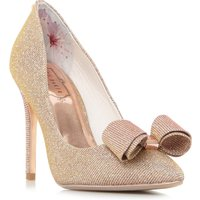 Ted Baker Azeline Bow Trim Pointed Court Shoes, Rose Gold