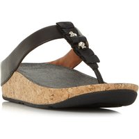 FitFlop Ruffle Toe Post Wedge Sandals, Black