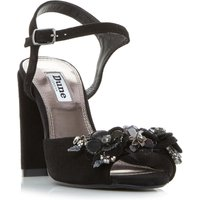 Dune Moana Flower Trim Heeled Sandals, Black