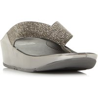 FitFlop Crystall Toepost Sandals, Pewter