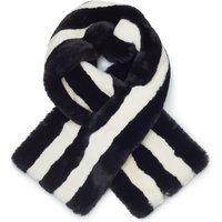 James Lakeland Stripe Faux Fur Scarf, Black