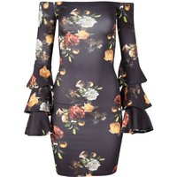 Be Jealous Bardot Frill Sleeve Midi Dress, Black