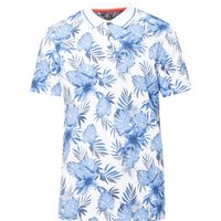 Men's Ted Baker Course Ss Floral Print Golf Polo, Blue