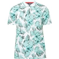 Men's Ted Baker Course Ss Floral Print Golf Polo, Green