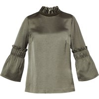 Ted Baker Myani Frilled Sleeve High Neck Top, Khaki
