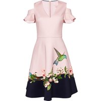Ted Baker Owella Nectar Cold Shldr Skater Dress, Light Pink - Seek Gifts