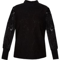 Ted Baker Dilly Lace High Neck Half Sleeve Top, Black