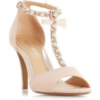 Head Over Heels Mercedes  T Bar Pearl Stiletto Sandals, Nude - Mercedes Gifts