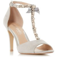 Head Over Heels Mercedes  T Bar Pearl Stiletto Sandals, Grey - Mercedes Gifts