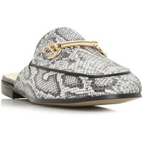 Dune Gene Metal Trim Mule Loafers, Grey