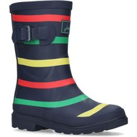 Joules Boys Navy Multi Stripe Wellington Boots, Multi-Coloured
