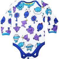 Fabric Flavours Baby Mr Men Repeat Print Babygrow Blue, Blue - Mr Men Gifts