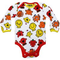 Fabric Flavours Baby Mr Men Repeat Print Babygrow Blue, Red - Mr Men Gifts
