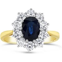 Lustro Sapphire and diamond cluster ring, Sapphire