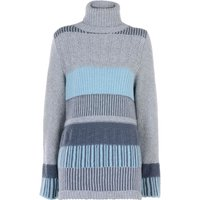 Stefanel Stitched Pattern Wool Sweater, Grey