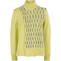 Stefanel Wool Blend Sweater With Braids, Yellow
