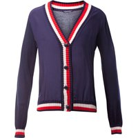 Tommy Hilfiger Etia Fabric Mix V-Neck Cardigan, Blue