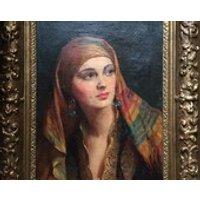 Albert Henry Collings (18681947) oil on canvas Yasmin in gypsy headscarf modern British school circa 1920s Salon de Paris