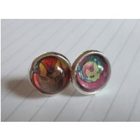 Recycled Comic Book Ironman Comic Stud Earrings  Upcycled  Unique Comic Earrings