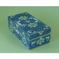 Antique Chinese Porcelain Pen Box Lotus Bat Auspicious Character Blue Ground Brush Enamel Painted Famille Verte