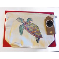 Turtle makeup bag, turtle cosmetic bag, turtle gifts for her, makeup accessories, watercolour turtle gift, sea life gift, ocean gift, mua