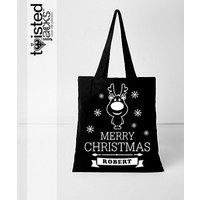 Printed Christmas Canvas Shopper Bay  Natural Material  Xmas Design  Hand Printed to Order Personalised with Name