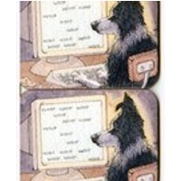 2 x Border Collie dog writer coasters