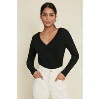 Womens Pointelle Jersey Frill V Neck Top - black, Black