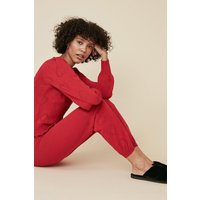 Womens Heart Pointelle Jogger - red, Red