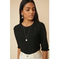 Womens Broderie Shirred Cuff T Shirt - black, Black