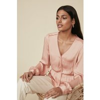 Womens Satin Trimmed Button Blouse - pink, Pink