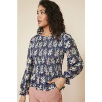 Floral Shirred Bodice Top
