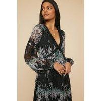 Womens Floral Print Trimmed Midi Dress - black, Black