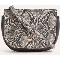 Womens Faux Snake Saddle Bag - grey, Grey