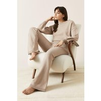 Womens Flared Knitted Loungewear Set - camel, Camel