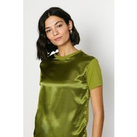 Womens Satin Front T Shirt - green olive, Green Olive