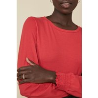 Womens Shirred Cuff Long Sleeve Top, Red