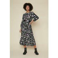 Womens Tiered Midi Dress - black, Black