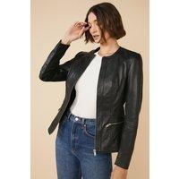 Womens Collarless Leather Jacket - black, Black