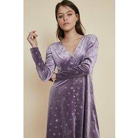 Womens Glitter Star Velvet Button Skater Dress - lilac, Lilac