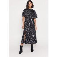 Womens Heart Print Midi Dress - black, Black