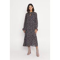 Womens Ditsy Print Tie Neck Smock Midi Dress - multi, Multi