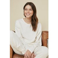 Womens Cable Ruched Sleeve Top - cream, Cream