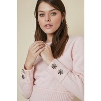 Womens Cosy Button Cuff Jumper - pink, Pink
