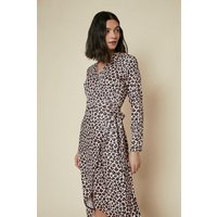 Womens Printed Jersey Wrap Dress - brown, Brown