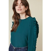 Womens Puff Sleeve Blouse - teal, Teal