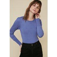 Womens Bobble Stitch Jumper - blue, Blue