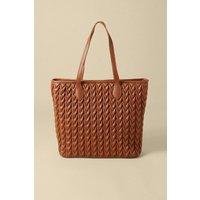 Womens Textured Shopper Bag - tan, Tan